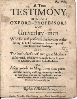 A true testimony of the zeal of Oxford-professors and university-men (1654)