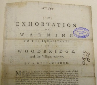 Mary Maw, Exhortation or warning to the inhabitants of Woodbridge..., published 1778 (Lib. Ref. Vol C/160)