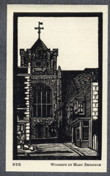 Woodcut of Ypres Tower, Rye, by Mary Berridge, September 1917