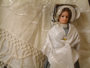 Quaker doll and shawl