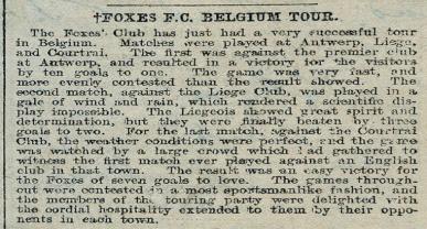 'Foxes F. C. Belgium Tour'