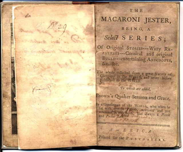 Macaroni Jester title page