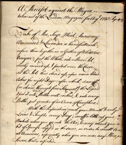 """A Receipe against the Plague…"", John Catchpool's commonplace book"