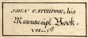 Title page, John Catchpool's commonplace book