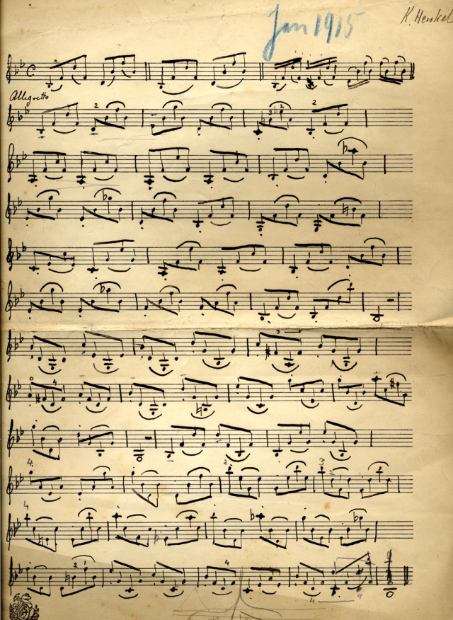 Violin music written by Karl Henkel, 1915 (TEMP MSS 1/3/1)