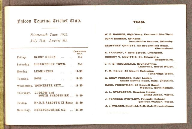 Falcons 1923 - card inside
