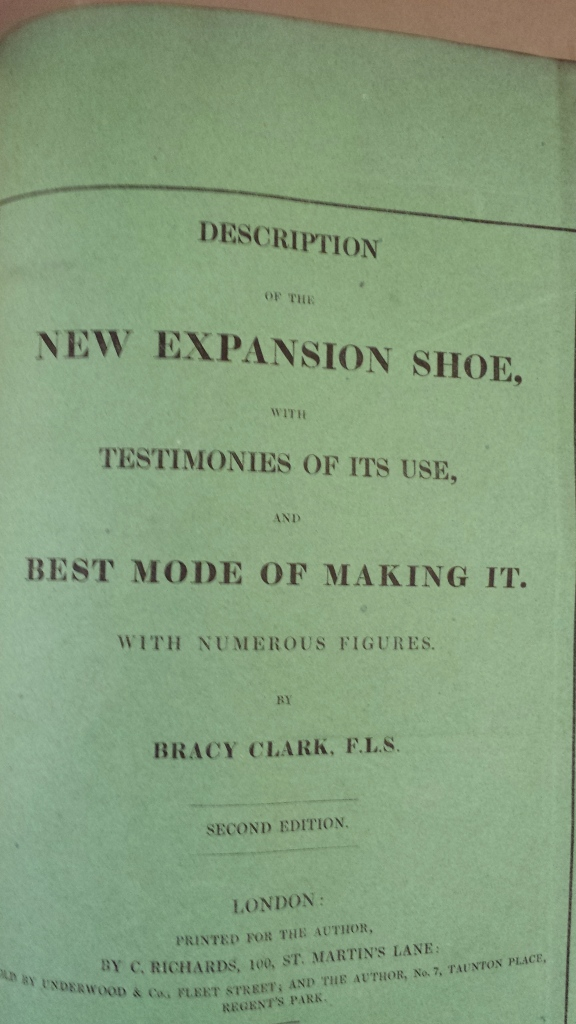 Bracy Clark, A description of a new horse shoe which expands to the foot invented by Bracy Clark (1827). Front cover