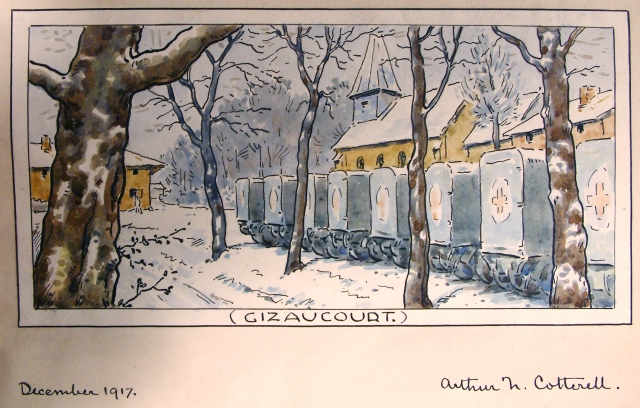 Cotterell, Ambulances at Gizaucourt, winter 1917