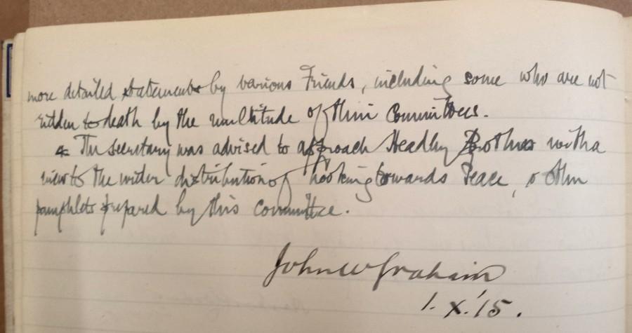War Sub-committee minute 3, 2 Nov 1915