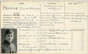 FAU service card for Lionel Sharples Penrose