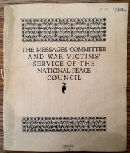 The Messages Committee and War Victims Service of the National Peace Council - cover