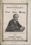 Official programme of the Great Peace Meeting in Trafalgar Square, Sunday, August 2nd, 1914