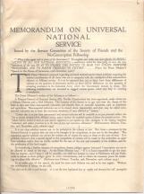 Memorandum on universal national service