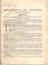 Memorandum on universal national service