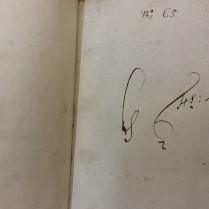 Flyleaf MS inscription G Fs: Book (Hawkins Vol. 45)