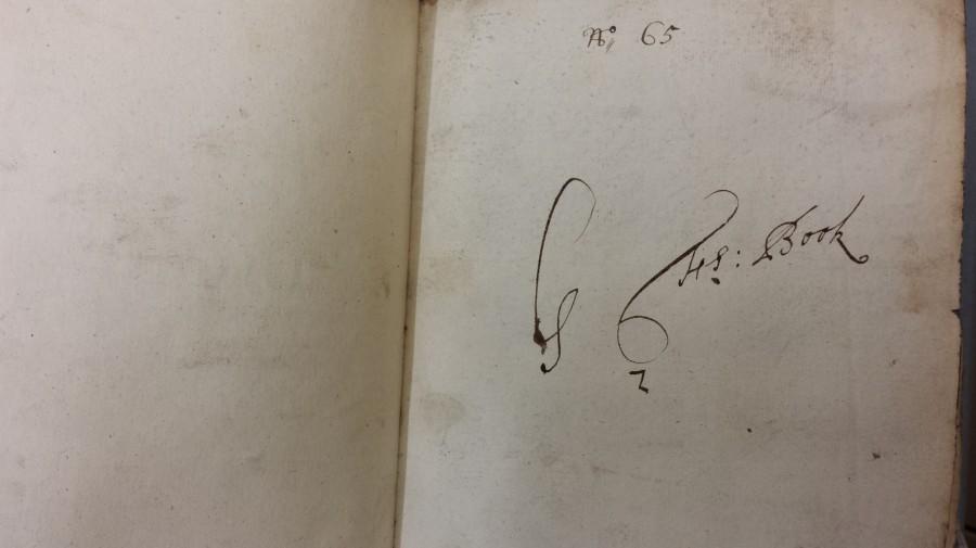 Flyleaf MS inscription G Fs: Book (Hawkins Vol. 45)