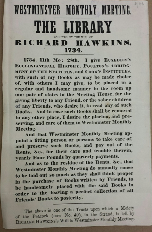 Printed extract from Richard Hawkins will