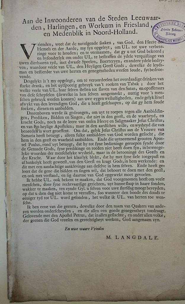 Langdale. Aan de Inwoonderen (1717)