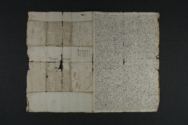 A folio from Swarthmore MSS Vol. 6 before repair
