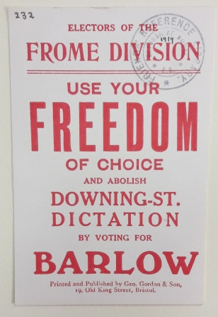 1918 election cards for John E. Barlow (Library reference: Box L 228/2)