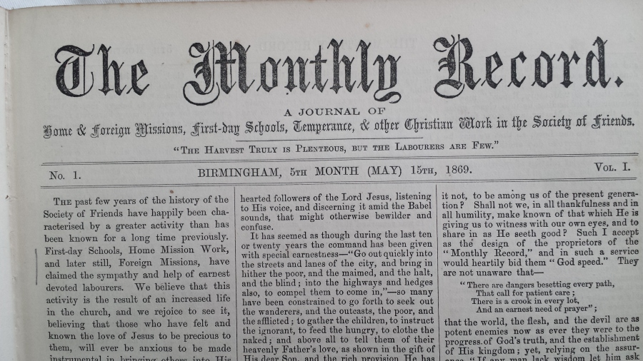 The Monthly record no. 1 (15 May 1869)