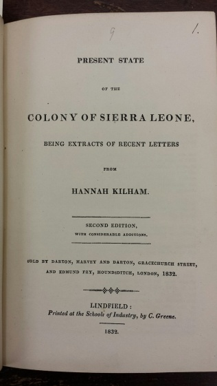 One of Hannah Kilham's tracts on Sierra Leone from Tract volume 326