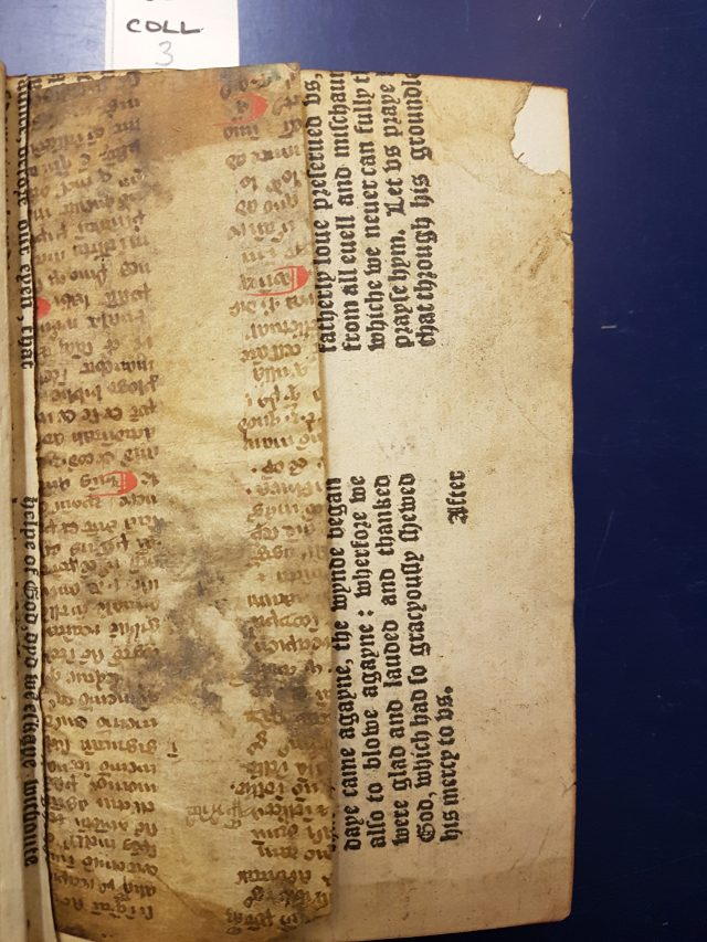 Fragments of mediaeval printed and manuscript waste used in the binding of Richardson Collection 3