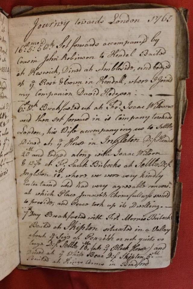 Elihu Robinson's diary 1765