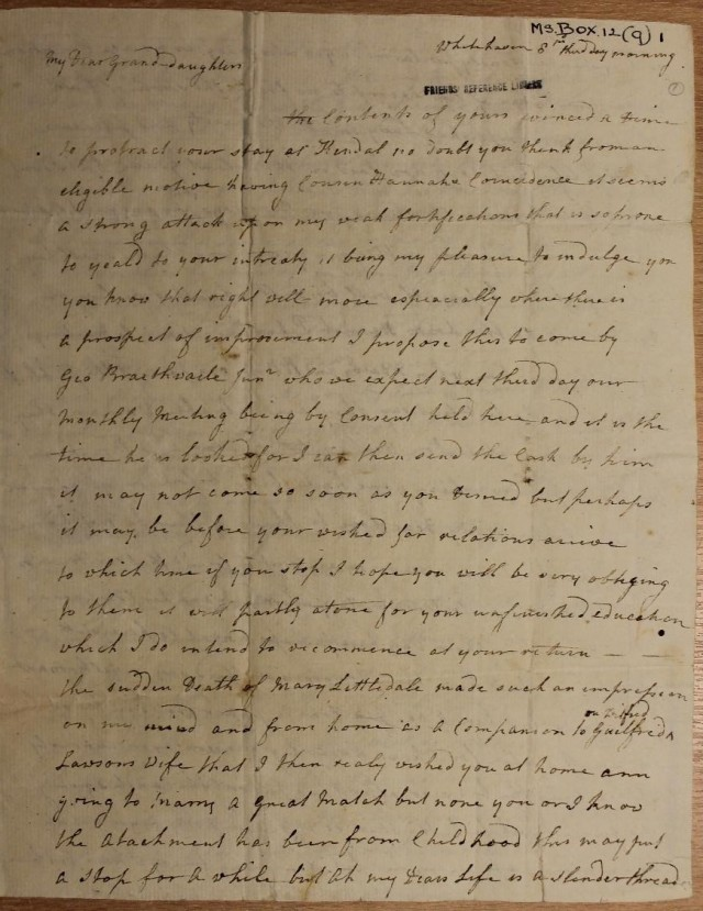 Letter from Jane Pearson to Hannah Tipping