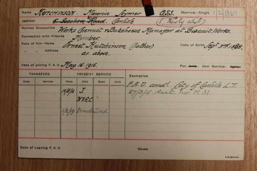 Maurice Seymer Hutchinson FAU personnel card