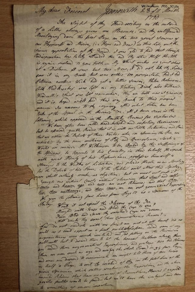 Thomas Wilkinson letter to Elihu Robinson 28 Nov 1790