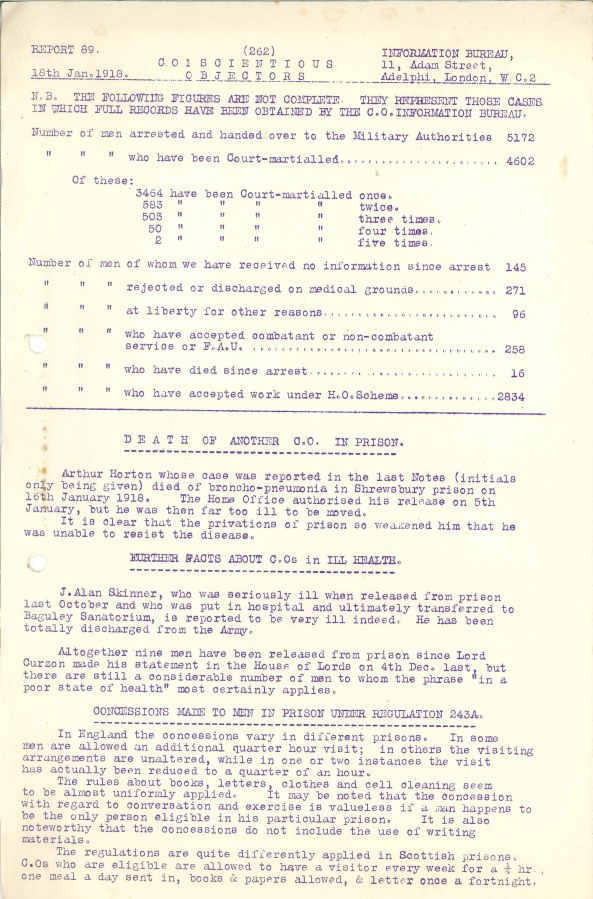 Typed report on carbon paper, 1918