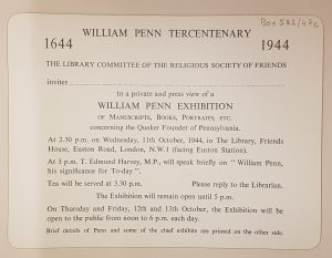 Penn Tercentenary 1944 invitation to an exhibition in the Library