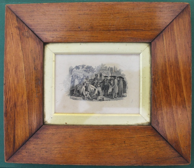 Small engraving of Penn's Treaty framed with wood said to be from the Treaty Tree