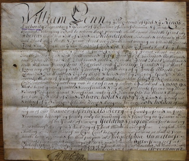 Property deeds relating to land in Pennsylvania