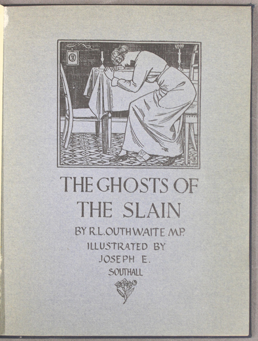 Title page by Joseph E Southall for Ghosts of the Slain, by R L Outhwaite (1915)