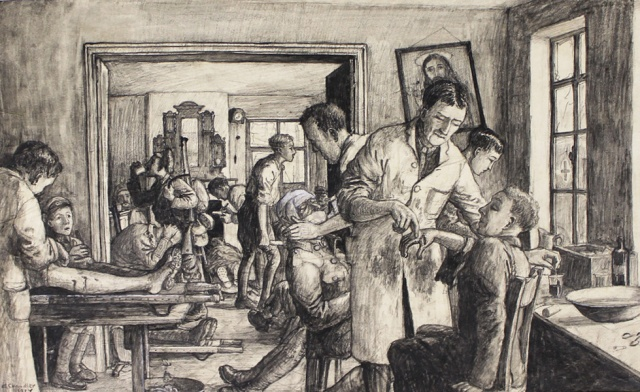 Allen Chandler. Whit Monday, 1915, The Dressing Station, Augustine Straat, Ypres