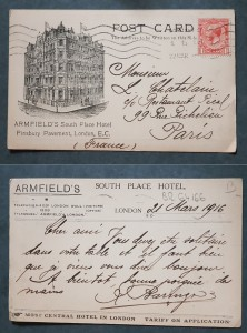 Armfield's Hotel postcard written in 1916