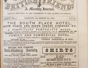 Advertisement for Armfield's South Place Hotel in the British Friend (1 May 1886)