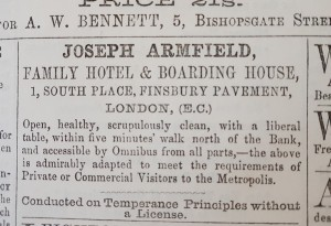 Advertisement for Armfields Hotel in The Friend (1857)