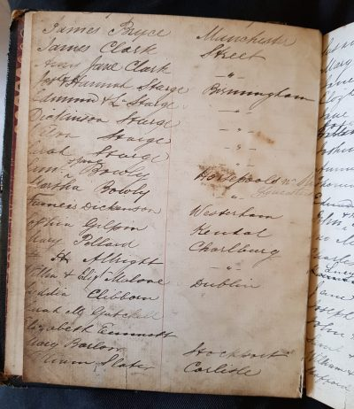 A page from Armfield's Hotel visitors' book