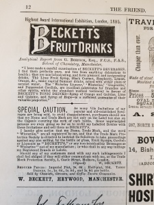 Advertisement for temperance drinks in The Friend