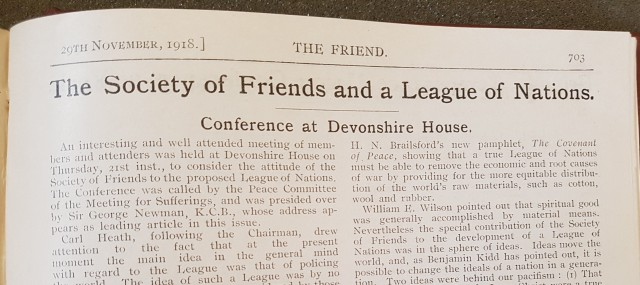 Report of the 21 November conference at Devonshire House, The Friend (29 Nov 1918)