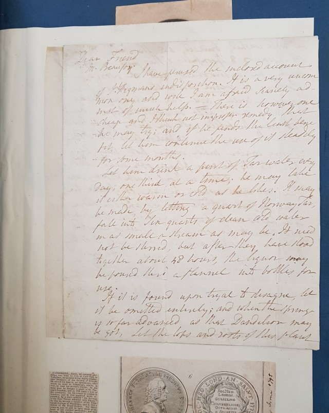 Letter from Dr Fothergill to Mark Beaufoy suggesting treatment for J. Higman's complaint
