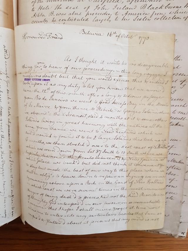 Letter to Dr Fothergill from Sydney Parkinson Portfolio 20.46