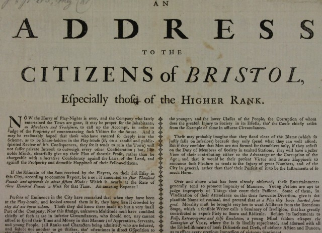 An Address to the Citizens of Bristol (1739)