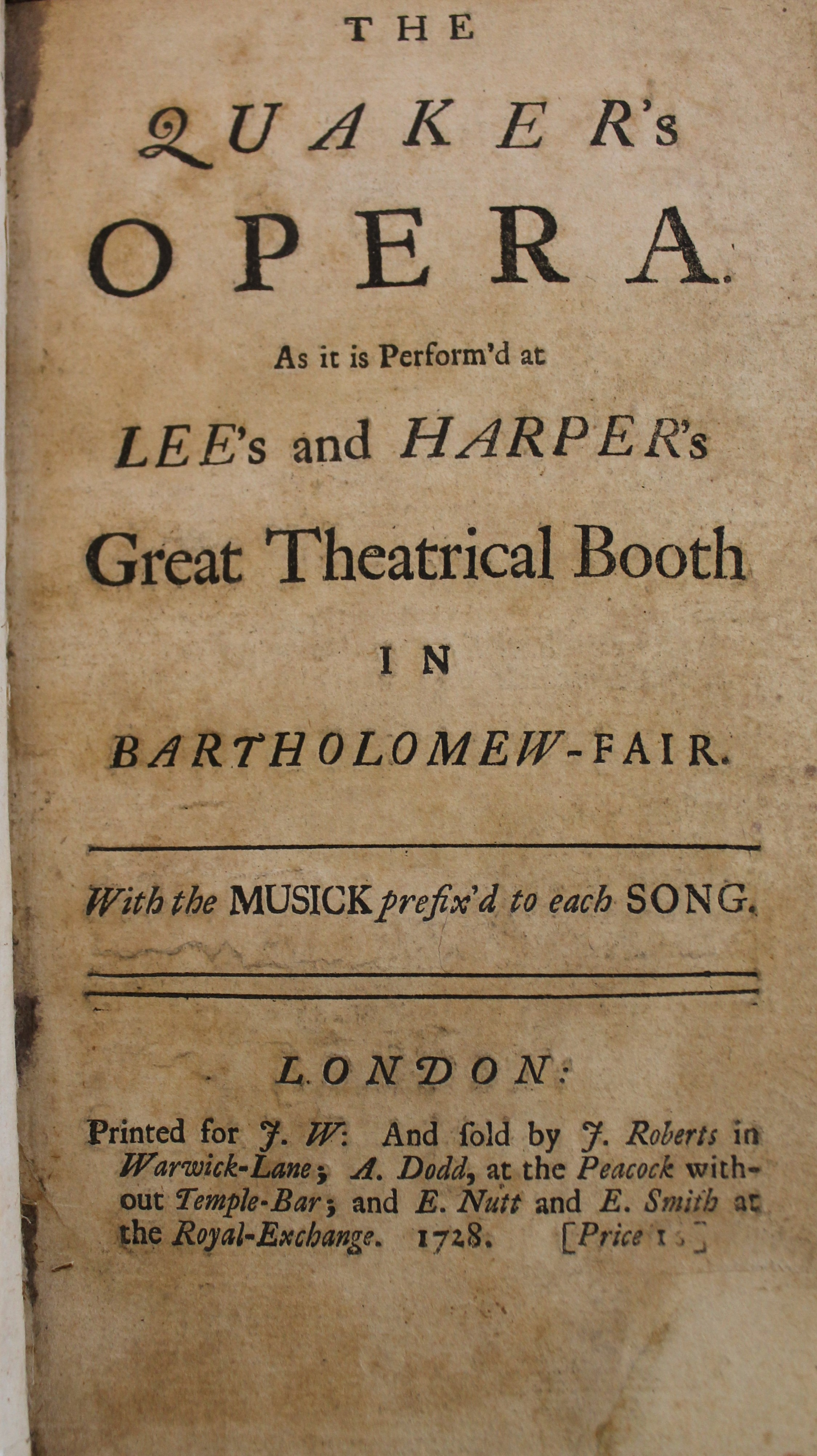 The Quaker's Opera by Thomas Walker (1728)